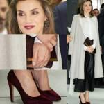 Letizia Ortiz, pantaloni in pelle e décolleté in velluto FOTO
