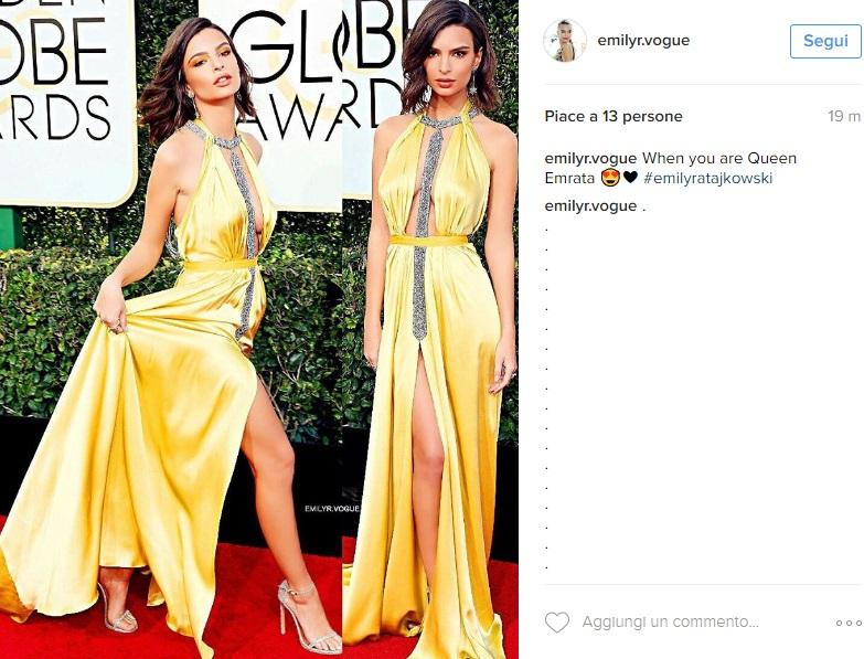 Emily Ratajkowski scandalosa in giallo: abito esagerato FOTO