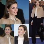 Letizia Ortiz, look casual: tailleur nero e maglione FOTO