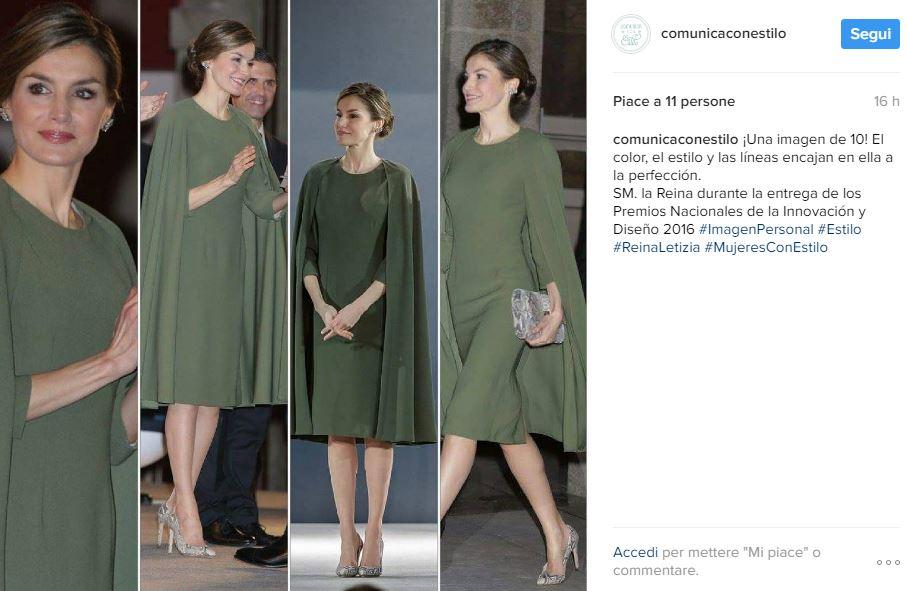 Letizia Ortiz look: abito a mantella verde per la regina FOTO