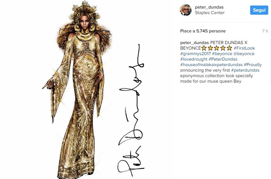 Beyoncé, abito dorato ai Grammy: chi è lo stilista FOTO