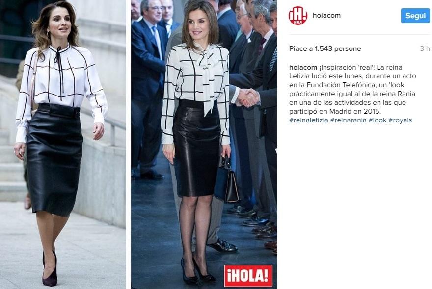 Letizia Ortiz, copia l'outfit alla regina Rania! Look a confronto