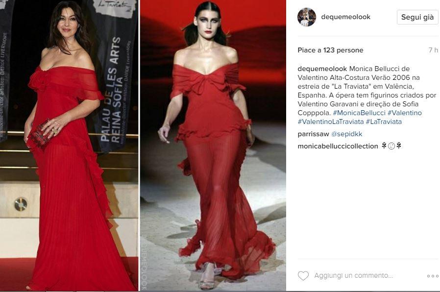 Monica Bellucci incanta in rosso: abito firmato Valentino