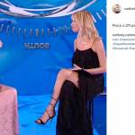 Nathaly Caldonazzo, abito monospalla rosa firmato Chiara Boni