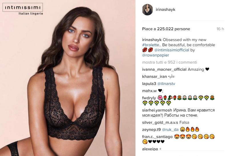 Irina Shayk, reggiseno di pizzo Intimissimi2