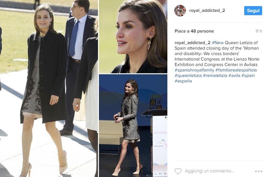 Letizia Ortiz, look impeccabile: mini abito grigio e tacchi