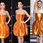 Selena Gomez in Oscar de la Renta. La popstar americana, 24 anni, ha scelto un modello decisamente eccentrico: un mini abito con gonna a palloncino