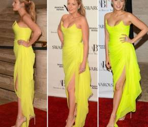 Blake Lively sensule: abito aderente giallo fosforescente FOTO