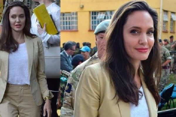 Angelina Jolie a Nairobi: completo beige e sandali bassi