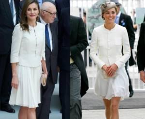 Letizia Ortiz e Kate Middleton in bianco: look a confronto FOTO