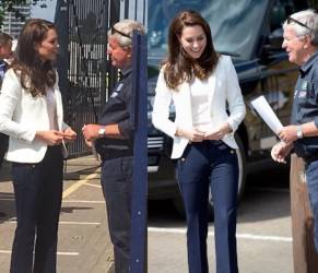 Kate Middleton casual chic: look navy e pantaloni capri FOTO