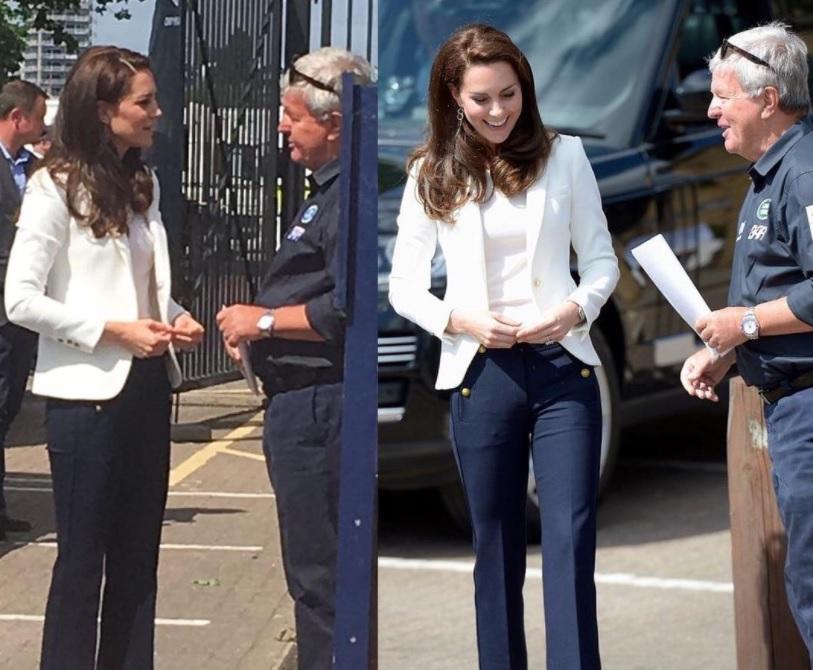 Kate Middleton casual chic: look navy e pantaloni capri FOTO