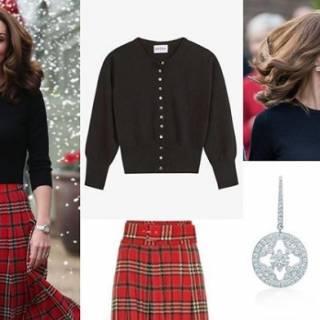 foto ufficiali 931cc 90235 Kate Middleton segue il trend tartan per la festa di Natale