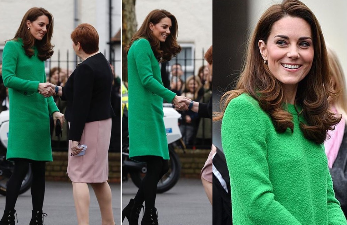 Kate Middleton, abito verde e stivaletti glam