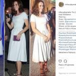 Kate Middleton look: total white e sandalo con tacco Prada FOTO