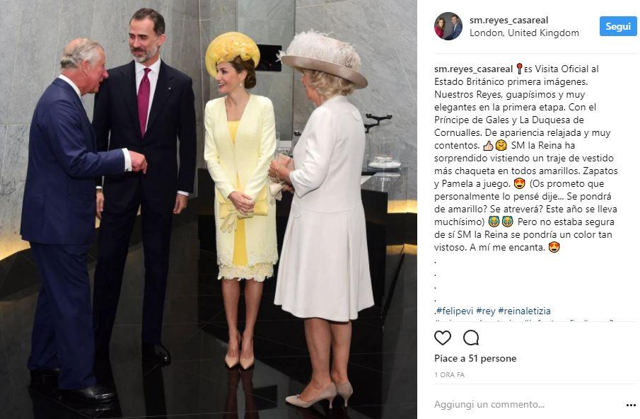 Letizia Ortiz in giallo per visita nel Regno unito: outfit FOTO
