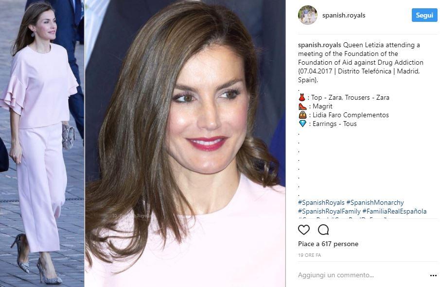 Letizia Ortiz, total look Zara per la regina di Spagna FOTO