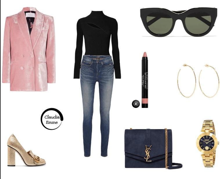 Jeans e blazer in velluto: l'outfit del giorno è glam e trendy