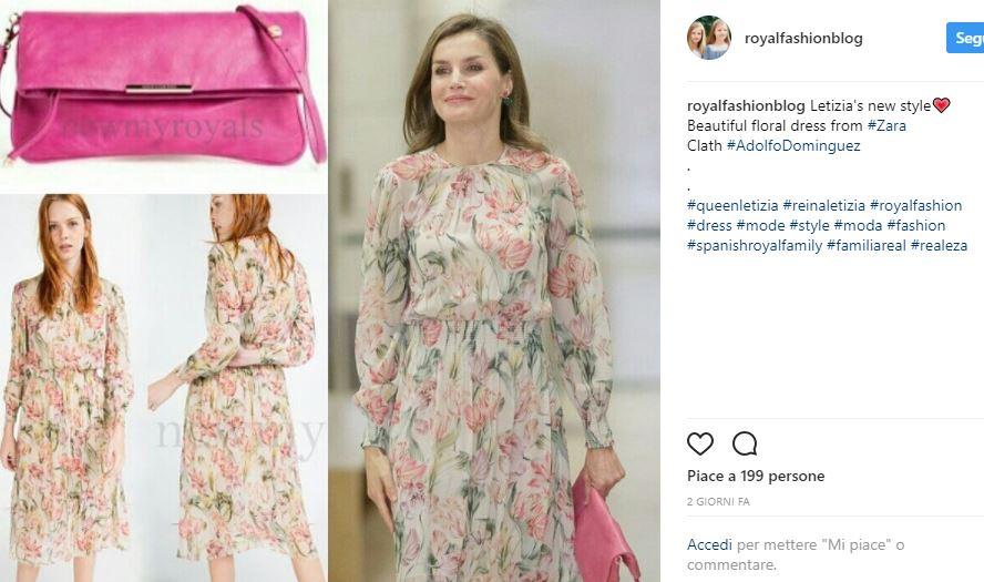 Letizia Ortiz, abito floreale firmato Zara per la regina FOTO