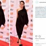 Angelina Jolie regina di semplicità, abito monospalla a Toronto