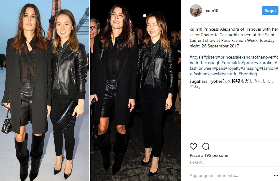 Charlotte Casiraghi: camicia vedo non vedo e shorts di pelle FOTO