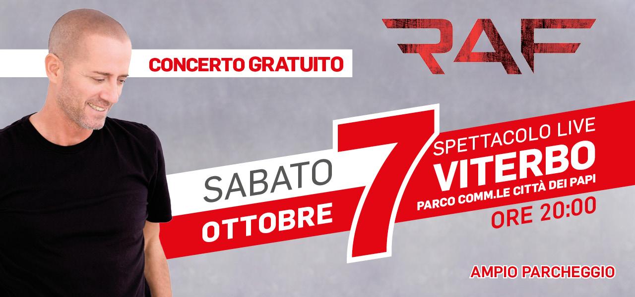 Raf in concerto a Viterbo per apertura Mondo Convenienza: info
