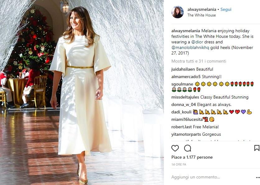 Melania Trump, abito bianco Dior: polemica sul web FOTO