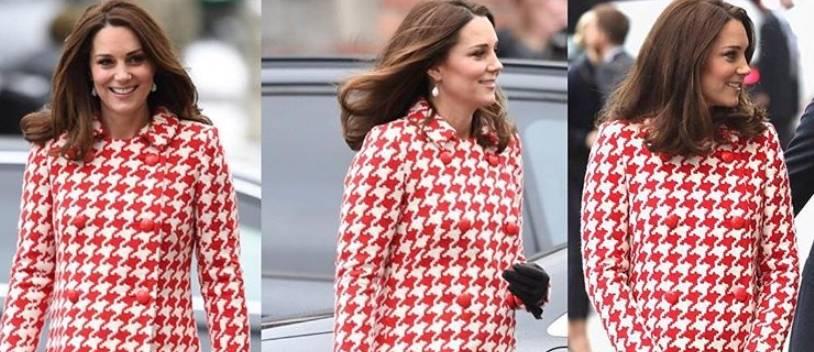 Kate Middleton, cappotto rosso pied de poule e borsa Chanel FOTO