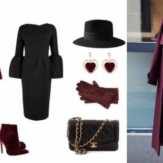 online retailer 6a2e0 54905 Look del giorno: tubino nero e accessori burgundy FOTO