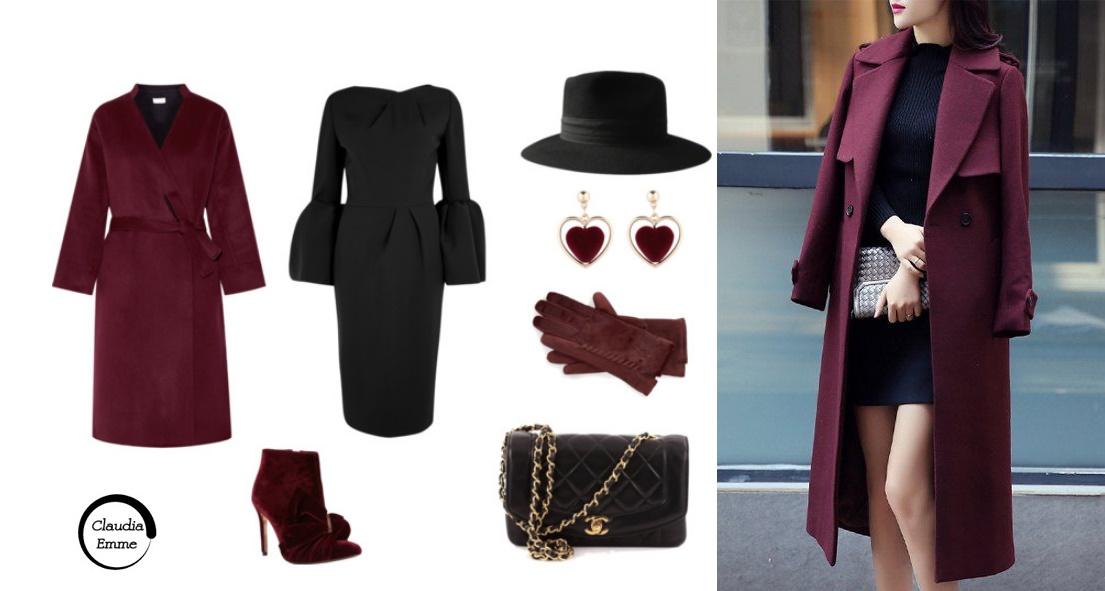 solo docile Più presto  Look del giorno: tubino nero e accessori burgundy FOTO
