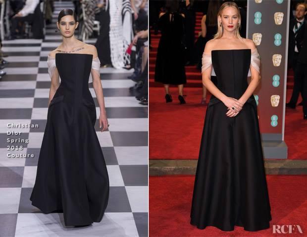 Bafta 2018, Jennifer Lawrence total black in Dior