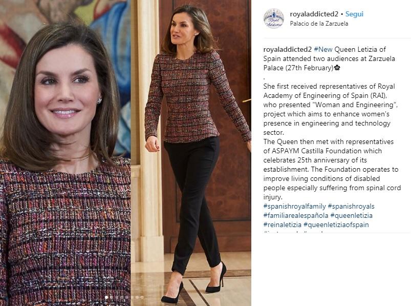 Letizia Ortiz casual, blusa in tweed e pantalone nero FOTO