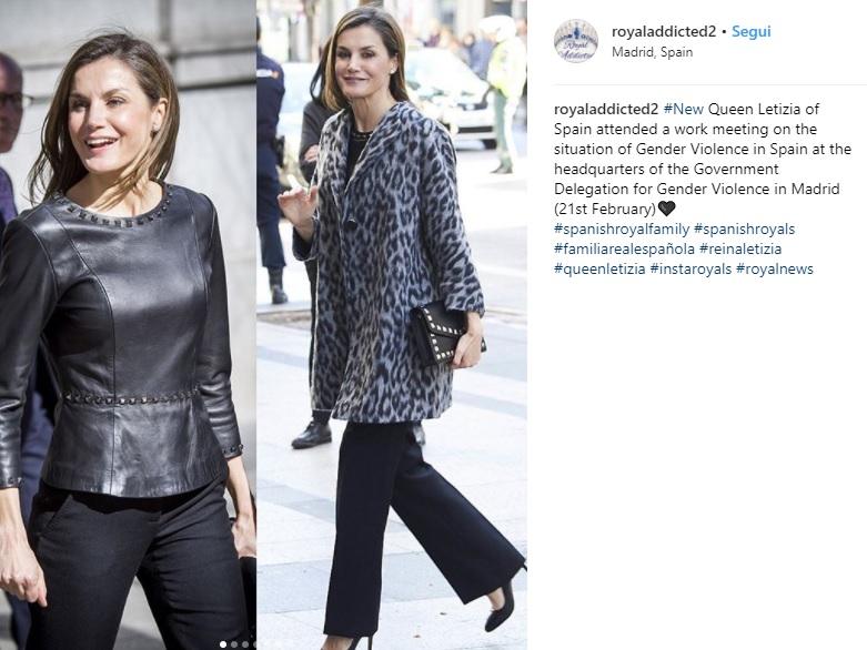 Letizia Ortiz look: maglia in pelle borchiata per la regina 1