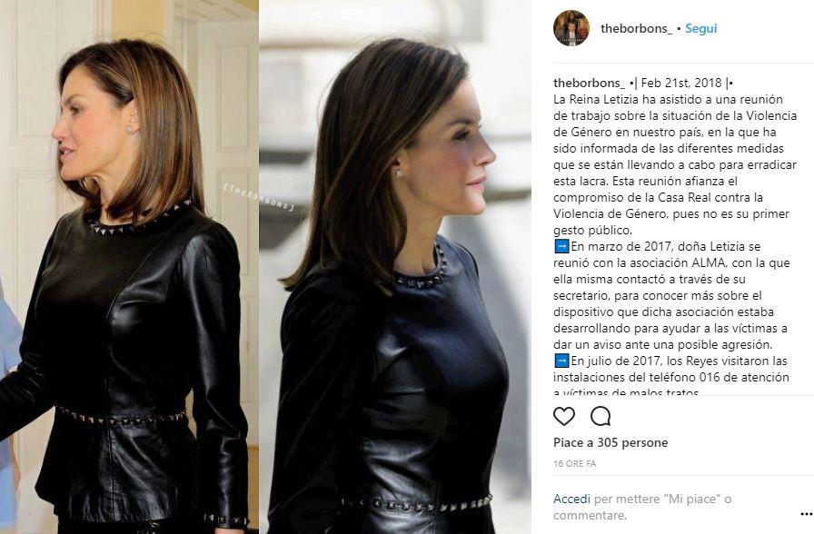 Letizia Ortiz look: maglia in pelle borchiata per la regina