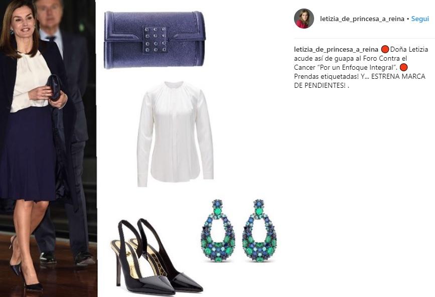 Letizia Ortiz look: gonna longuette blu e blusa bianca