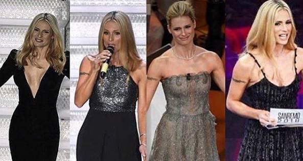 Michelle Hunziker ha scelto l'eleganza firmata Armani per la prima serata del Festival di Sanremo: le FOTO di tutti i look e degli abiti