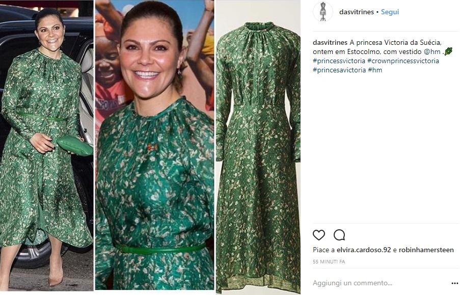 Kate Middleton, Victoria di Svezia le copia il look: abito verde a fiori FOTO