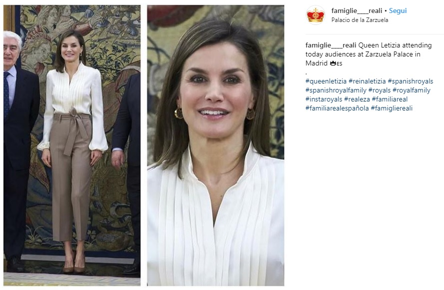 Letizia Ortiz outfit casual chic per la regina di Spagna FOTO