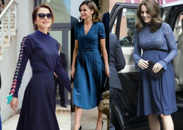 Letizia Ortiz, Kate Middleton, Rania: passione blu FOTO