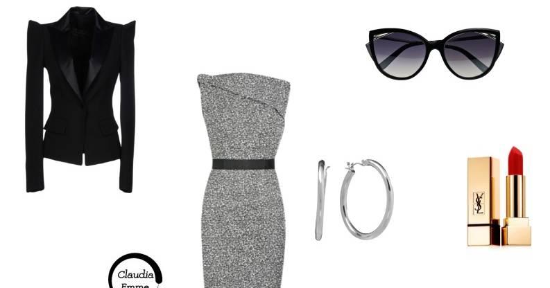 Look del giorno: tubino grigio e tacchi, business chic FOTO
