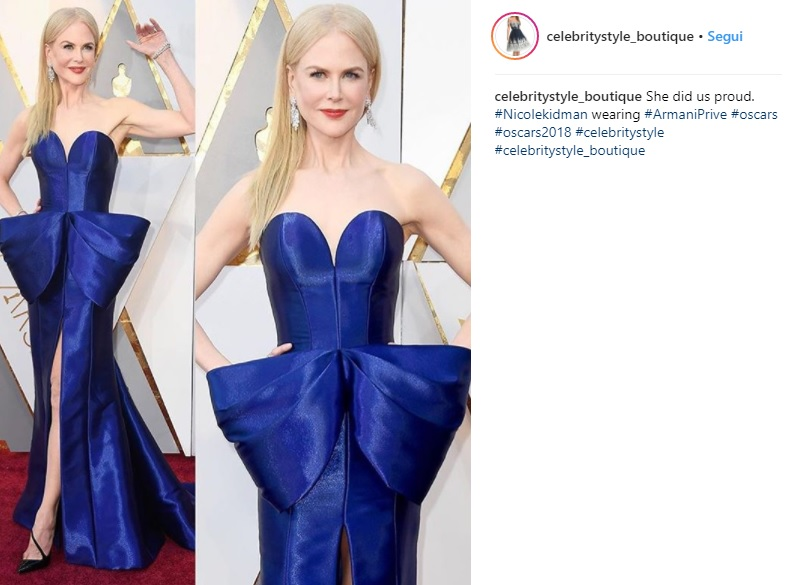 Oscar 2018, Nicole Kidman best dressed: abito blu Armani