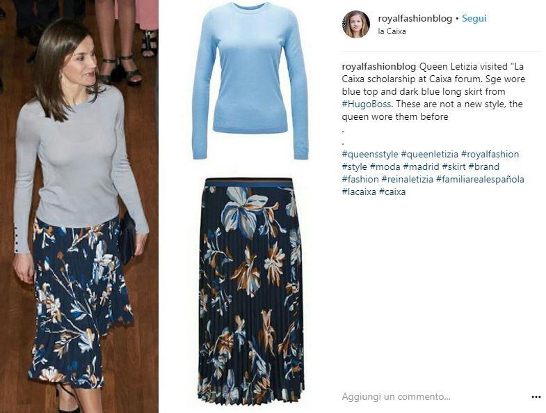 Letizia Ortiz, look primaverile: gonna floreale e maglia celeste
