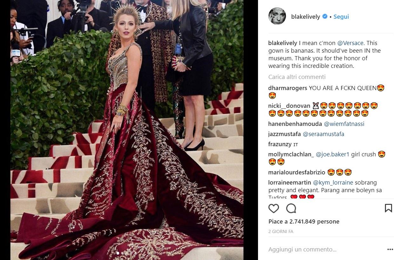 """Blake Lively, il dettaglio dell'abito del Met Gala: """"Così grosso che..."""""""