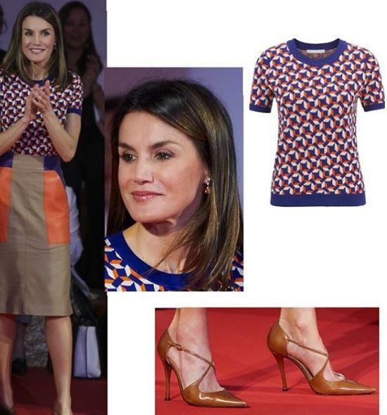 Letizia Ortiz look: gonna e maglia multicolor 1