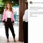 Rania di Giordania versione sporty: tacchi e tuta per la regina