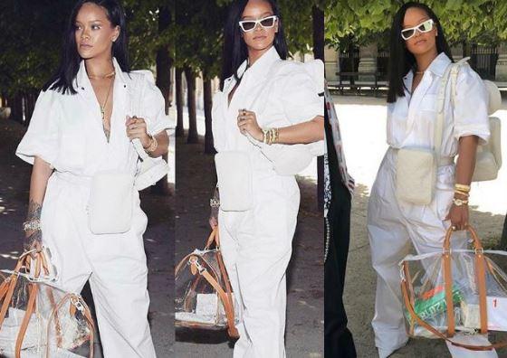 Rihanna, jumpsut bianca alla prima sfilata Virgil Abloh per Louis Vuitton