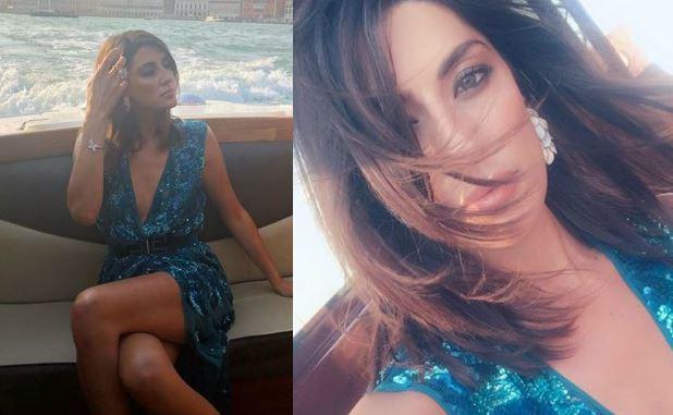 Venezia 75, Elisa Isoardi in blu: abito firmato Elisabetta Franchi