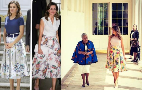 Melania Trump come Letizia Ortiz: gonna a fiori per la first lady