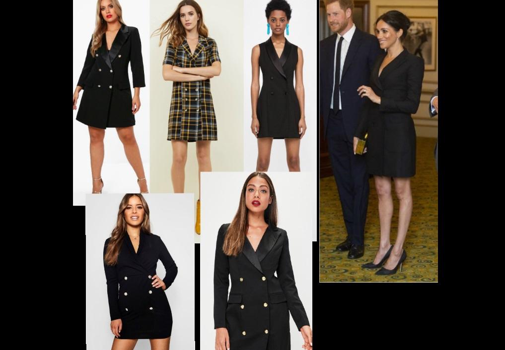Meghan Markle tuxedo minidress, copia il look: 5 alternative low cost!
