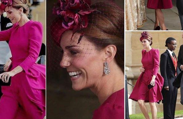 Kate Middleton, abito porpora alle nozze di Eugenia